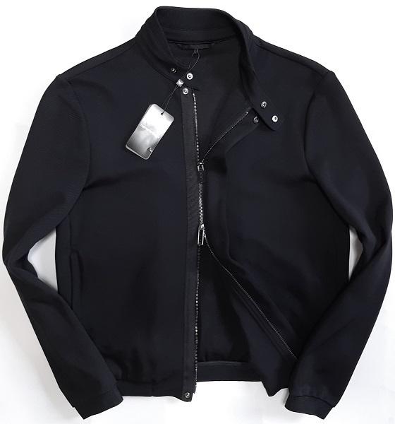 [新品] EMPORIO ARMANI ニットジャージ素材となる【メンズ・ジャケットブルゾン】 ◆2021年春夏モデル サイズ:52(XL相当) ◆色:黒