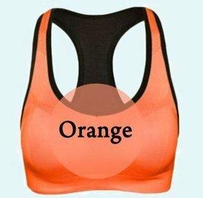 【スポーツブラ オレンジ Sサイズ】スポブラ 揺れない ノンワイヤー ブラジャー ブラトップ タンクトップ スポーツ 黒 ヨガ フィットネス