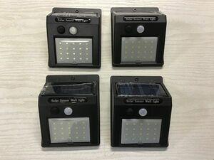 LED ソーラーセンサーライト 人感センサーライト 4個セット 充電式 防犯 LED20連 屋外照明 防水 夜間 自動点灯/自動消灯 / 93-65×4 NA*