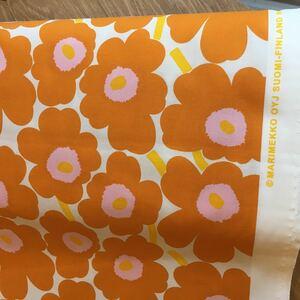 マリメッコ 生地 ミニウニッコ 限定色 オレンジ 140cm×50cm