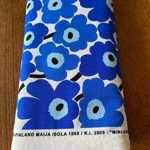 マリメッコ 生地 人気の ミニウニッコ 青 ブルー 140cm×50cm