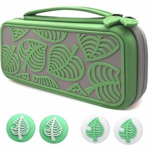 Switch ケース ニンテンドースイッチ 収納バッグ スイッチ 保護カバー 防塵 防水 耐衝撃 親指キャップ (緑の葉)EVA