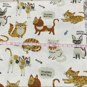 【新品】KOKKA 北欧 猫柄 生成 綿生地 116×56 はぎれ