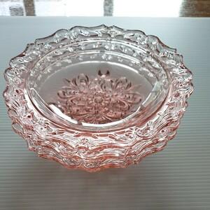 ピンク ガラス皿 3枚 直径約15cm