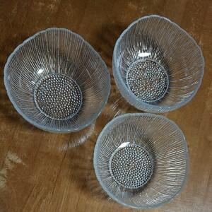 直径15.5cm ガラス鉢 ガラス皿 3枚セット皿