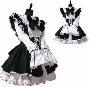 メイド 服 ゴスロリ 萌え かわいい カチューシャ 付き 3点 セット