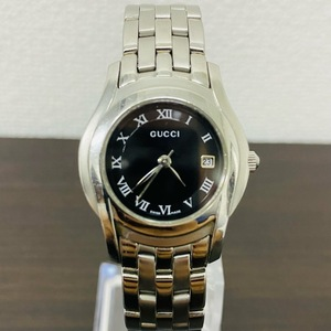 GUCCI グッチ レディース 腕時計 クオーツ QZ シルバー デイト 黒文字盤 5500L 本体のみ 中古 良品 稼働品 (K)