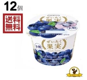 【冷蔵】オハヨー ぜいたく果実 まるごとブルーベリー&ヨーグルト 125gx12個
