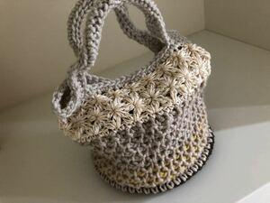 ミニバック 秋冬 かごバッグ 手編み
