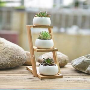 【送料無料】白セラミック植木鉢多肉植物ポット×3 & 3層竹棚×1セット ミニ観葉 多肉植物 サボテン 出窓 テーブルにも
