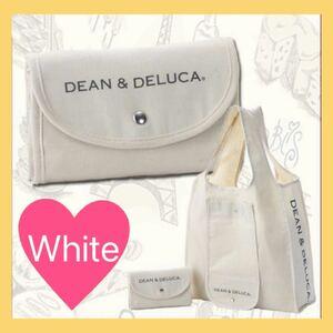 DEAN&DELUCA エコバッグ ナチュラル ホワイト 白 ショッピングバッグ ディーン&デルーカ 折りたたみ 人気 エコ ママ
