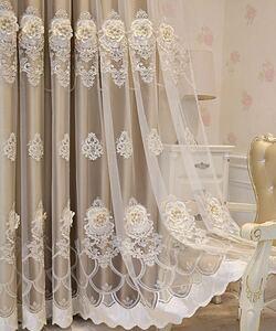 高級 おしゃれ カーテン 一体型 4枚入り お得 人気商品 刺繍 花 柄 レースカーテン フランス ボイルカーテン チュールレース 遮光カーテン
