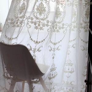 2枚入り 当社特製生地 レースカーテン フランス 刺繍 柄 オーダーメイド 綿麻 白 おしゃれ レース カーテン のれん サイズ 幅 100cm ポイル