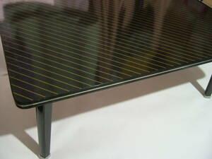 即決 折りたたみテーブル 51×75×h29.5cm 天板厚2cm 黒×マットゴールドストライプ ちゃぶ台 折りたたみ机 座卓