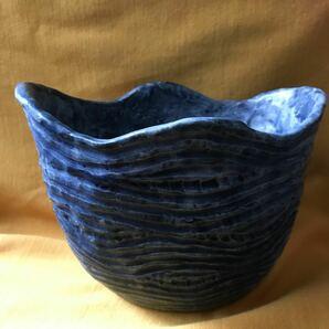 花器 生花  お花 いけばな いけ花 フルーツ皿 盛り皿 ブルー 青 水鉢 鉢