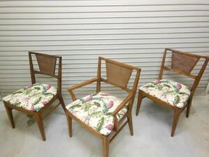 オールドハワイアン アームチェア ダイニングチェア 3脚セット ラタンバック ヴィンテージ 籐 椅子 HAWAII アメリカ