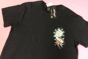 即決◆エドハーディー ED HARDY◆ 半袖Tシャツ【L】新品タグ付き 黒 薔薇 バックロゴ メンズサイス ブラック ◆