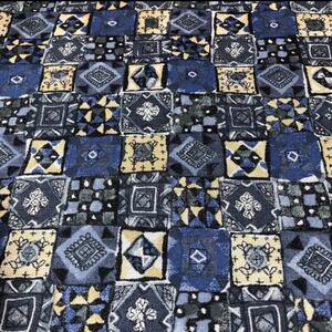 モロッコタイル柄 ブルー シーチング 生地幅×50 生地 ハギレ はぎれ
