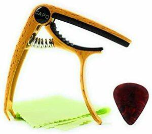 うすい木目 Eleyam カポタスト ギター カポ アコースティックギター用 クラシックギター用 ギターピック付属 (うすい木目