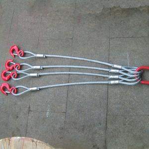 玉掛け ワイヤーロープ 4本吊り フック付き 使用荷重2t 長さ1m 亜鉛メッキ鋼製 ワイヤースリング 玉掛ワイヤー