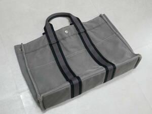 HERMES エルメス フールトゥ MM トートバッグ ハンドバッグ キャンバス ビジネス 手持ち 手提げ グレー系