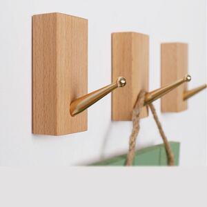 產品詳細資料,日本Yahoo代標|日本代購|日本批發-ibuy99|木製フック 強力粘着 ウォールフック バスタオルハンガー ブナ&黄銅6個セット