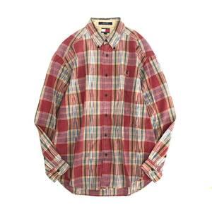 Fi14 48 大きいサイズ☆ TOMMY HILFIGER トミーヒルフィガー チェックシャツ ボタンダウン L/G/G 実寸XL相当 コットン100% メンズ 紳士服