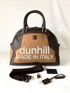 極美品dunhill イタリア製 レザー×キャンバスボストンバッグ 2WAY ショルダー 大容量 アルフレッドダンヒル 鞄 BAG男性用 革製