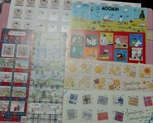 未使用 切手シート ムーミン二種 ぽすくま3種 ハッピーグリーティング二種類