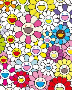 村上隆氏直筆サイン入り限定版画 小さなお花の絵 ピンクや紫やいろんな色 MURAKAMI TAKASHI ポスター未開封/お花 flower ball カイカイキキ