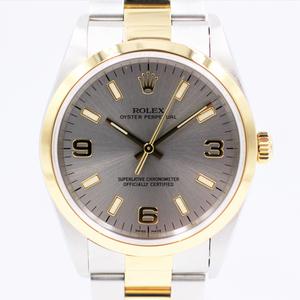 【ロレックス】 腕時計 オイスターパーペチュアル 14203 YG×SS ロレゾール グレー メンズ 自動巻き 中古品