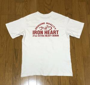 【希少】アイアンハート 定番バイクロゴ Tシャツ / IRON HEART, Sサイズ,ホワイト x レッド