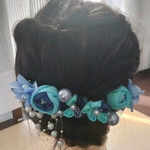 621 Hair Ornament Head Dress Satsumi Crafted Blue II Graduation Wedding Adult Yukata