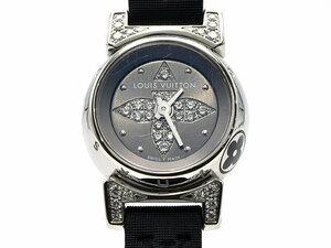 [3年保証] ルイヴィトン レディース タンブール ビジュ Q151K1 新品仕上済 ラグダイヤ グレー文字盤 クオーツ 腕時計 中古 送料無料
