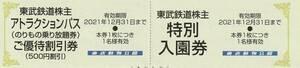 新着★おまけ付★東武鉄道株主★東武動物公園★特別入園券+ライドパスご優待割引券★即決