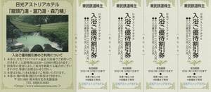 新着★東武鉄道株主★日光アストリアホテル★入浴ご優待割引券★1シート(4枚セット)★即決