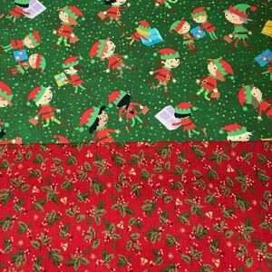 クリスマス 生地はぎれセット 柊 ひいらぎ 小人 子どもたち パッチワーク