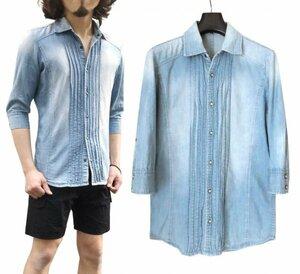 5351 POUR LES HOMMES 7分袖 プリーツ デニム シャンブレーシャツ 2 ライトインディゴ ※レターパック発送可