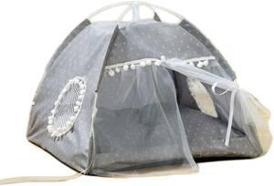 ティピーテント ペットベッド 犬小屋 M 猫小屋 可愛い レース ペット用寝袋 折りたたみ式 通気性 噛み耐え カラー 取り出し四季通用