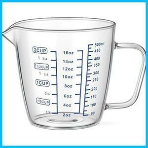 新品【 早い者勝ち】500ml OUNONA 計量カップ 耐熱ガラス 測定カップ メジャーカップ 500ml 電子レLY9D