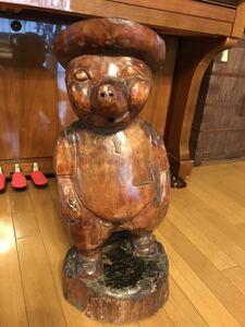 木彫 豚 置物 高さ63