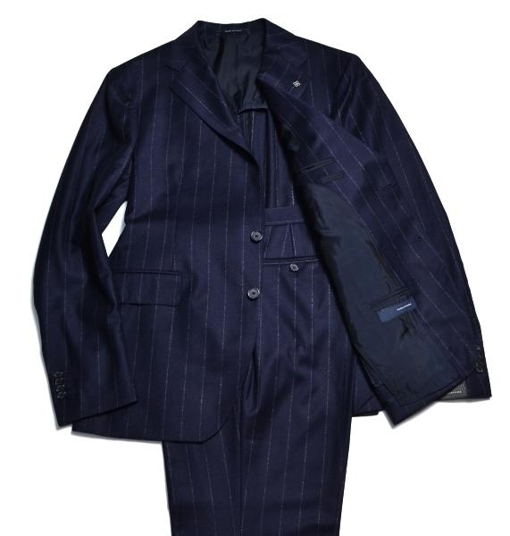 【新品】定価14.8万程 ラペルピン付き TAGLIATORE タリアトーレ Super110'S イタリア製スーツ サイズ54 フランネル生地 紺 ビジネス 6634