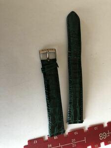 時計ベルト 革グリーン 18ミリ