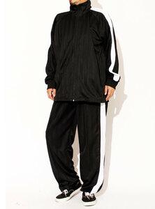 【新品】 3L ブラック×ホワイト ジャージ メンズ 大きいサイズ セットアップ 上下 スポーツウェア