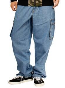 【新品】 3L ブルー デニム カーゴパンツ メンズ 大きいサイズ ゆったり デニムパンツ
