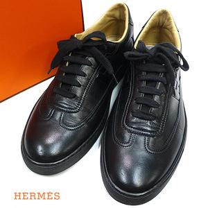 洗浄済み エルメス レザー Hロゴ スニーカー 靴 シューズ 黒 40【320887】