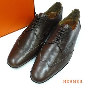 洗浄済み エルメス レザー ビジネス シューズ レースアップ 靴 39 1/2 25.0cm 茶色【320892】