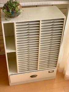 昭和レトロ カルテケース 書類入れ 小引き出し 木製 収納ケース 古道具 シャビー