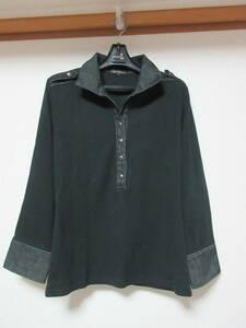 黒いポロシャツ 23区 黒のプルオーバー  ミリタリー調 七分袖 【日本製】