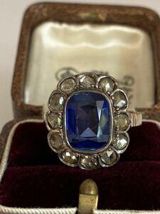 【送料無料】アールデコ期 深いブルー 4ctシンセティックサファイアと天然ローズカットダイヤモンド12石のリング 14k アンティーク